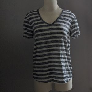 Grey and white stripe knit top